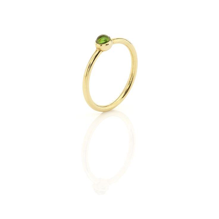 Yellow gold ring with green #tourmaline www.huffyjewels.com