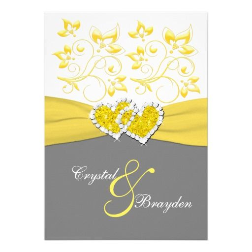238 best diamond wedding invitations images on pinterest glitter yellow gray white joined hearts wedding invite stopboris Images