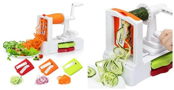 Vegetable Spiral Cutter Slicer 3 Blades Veggie Pasta Maker Spiralizer Versatile #VegetableSpiralizerSlicers