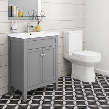 Cesar III Toilet & 600mm Melbourne Floor Standing Vanity Unit - Earl Grey