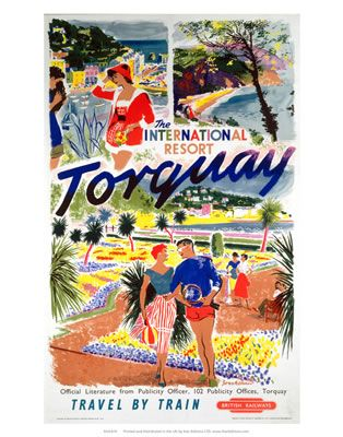 Buy from www.vintagerailposters.co.uk #Vintage #Rail #Train #Poster #Print #Art #Vintage #Old #Classic #British #Britain #UK #Travel #Railway #Posters #Gifts #Devon #Torquay