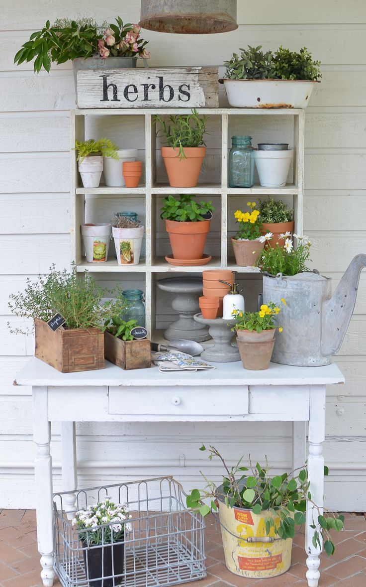 Farmhouse Style Potting Bench https://www.uk-rattanfurniture.com/product/yardmaster-6x6-metal-garden-shed-10-year-guarantee-apex-roof/