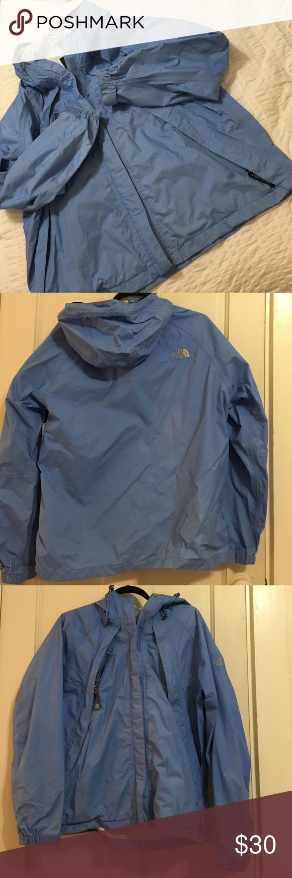 North face Rain Jacket Good condition- Free of smells/ smoke free pet free home. Beautiful light blue color The North Face Jackets & Coats