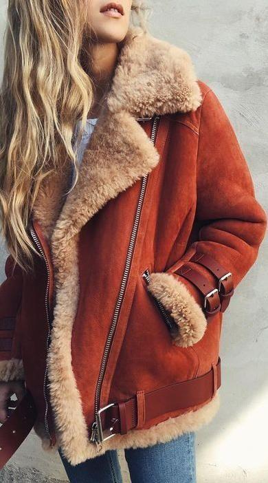 shearling jacket.
