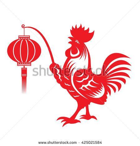Red paper cut a chicken bantam holding lanterns zodiac symbols