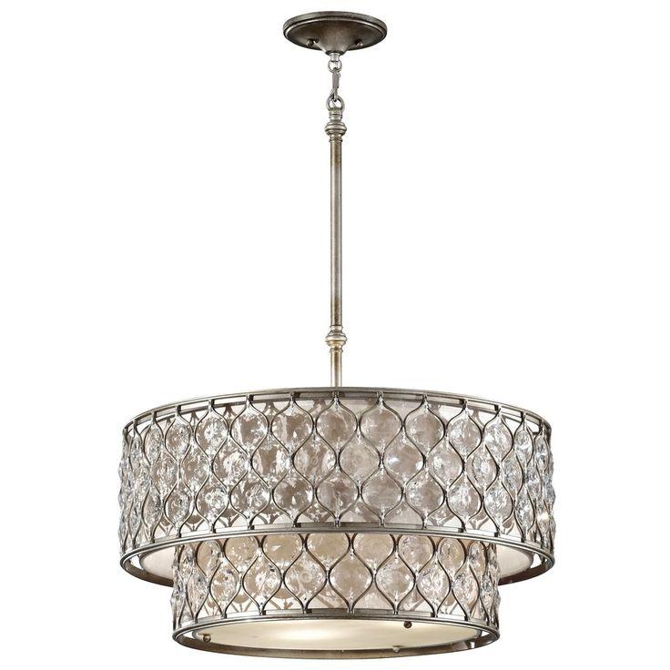 drum pendant lights in burnished silver finish - Drum Pendant Lighting