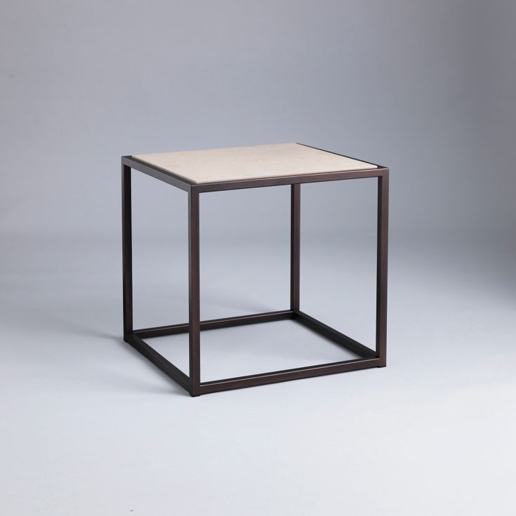 Siena #side_table.  Finished in #Bronze with #limestone.