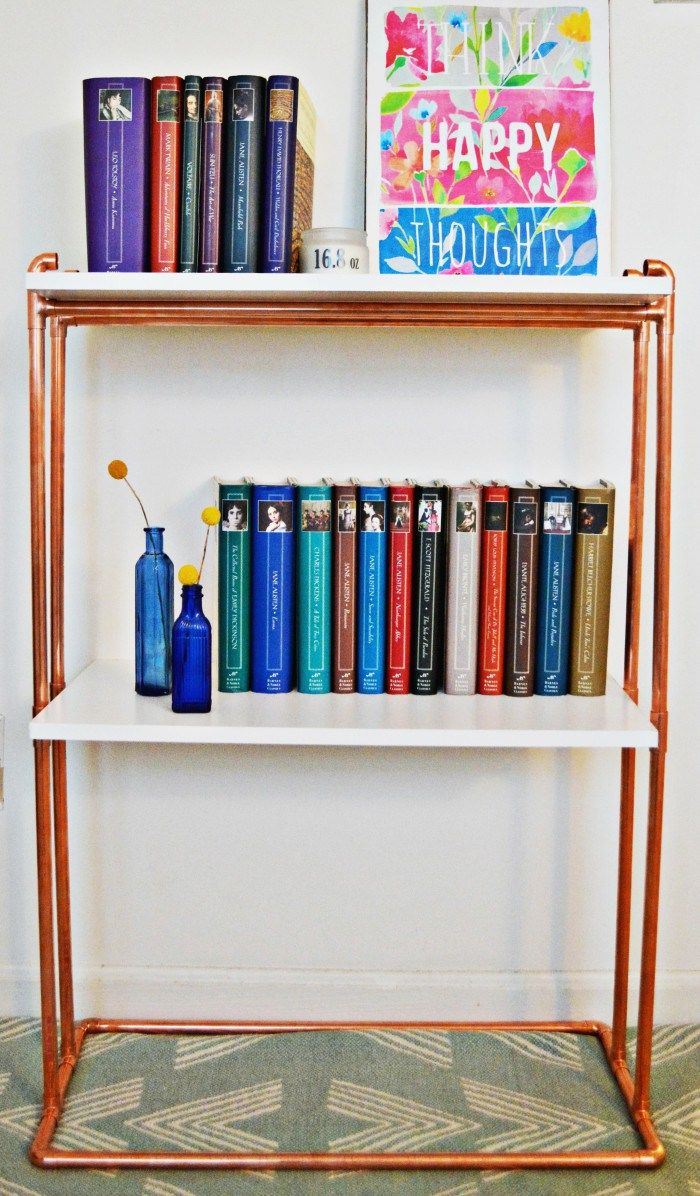 Are you wondering if copper pipe is my only craft supply on hand yet? Well surprisingly it is not but if you are into DIY or crafting you have most likely gone through phases and this is my copper pipe phase. And I don't know about you but I am always needing more places to house my books or craft supplies. I was really wanting to buy a new cart or bookcase but didn't want to spend the money and thought I could fashion something up at a reduced cost. And this project ended up costing me…