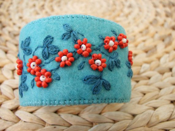 Turquoise Felt Hand Embroidered Cuff by sweetheartsandroses