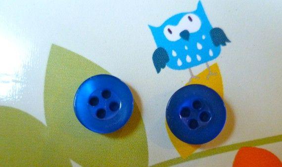 Mini Bright Blue Button Earrings by KatieHootie on Etsy, $4.00