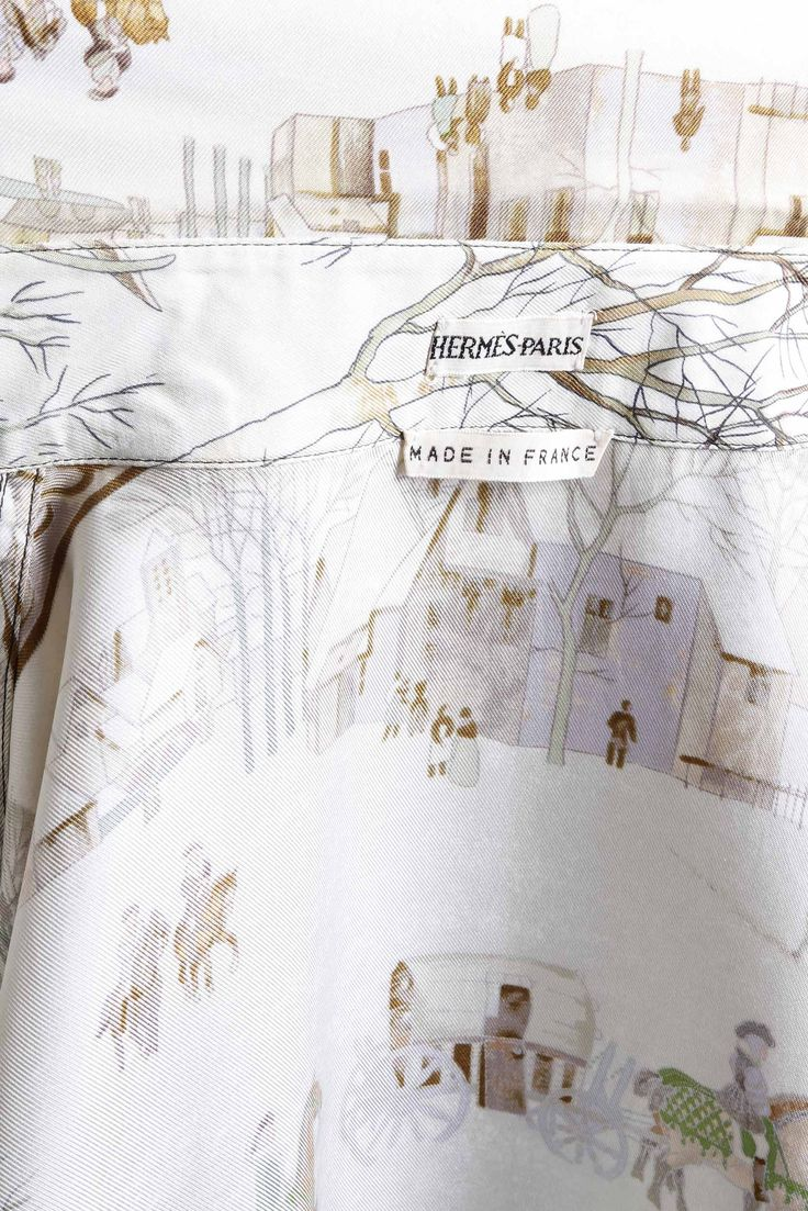 "HERMÈS - Camicia in seta ""L'Hiver"" By Philippe Ledoux"