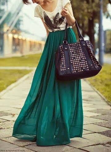 Best 25  Green Maxi Skirts ideas on Pinterest | Green skirt ...