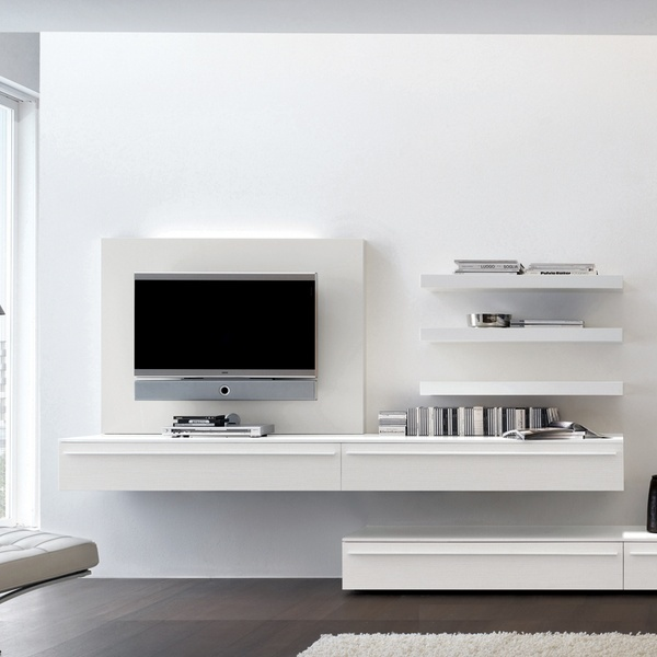 Love the suspended/elevated tv unit. Houses electronics and still has clean view of floor.