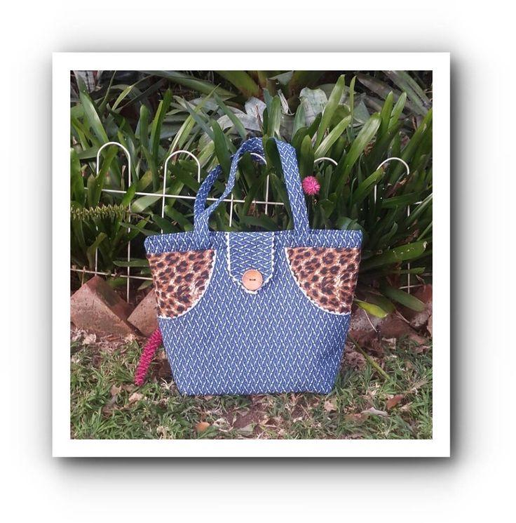 Indigo Shweshwe Tote bag with Leopard side accents by gogothabo on Etsy