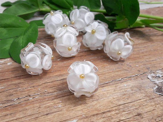 Lampwork Jewelry SRA Lampwork Jewelry White and Blue FlowerFloral Lampwork Earrings Earrings SRA  Lampwork Earrings