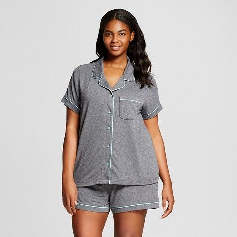 Gilligan & O'Malley Women's Plus Size Sleepwear Textured Knit Pajama Set Gray - Gilligan & O'MalleyTM