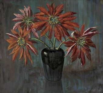 STILL LIFE WITH POINSETTIAS By Vladimir Tretchikoff