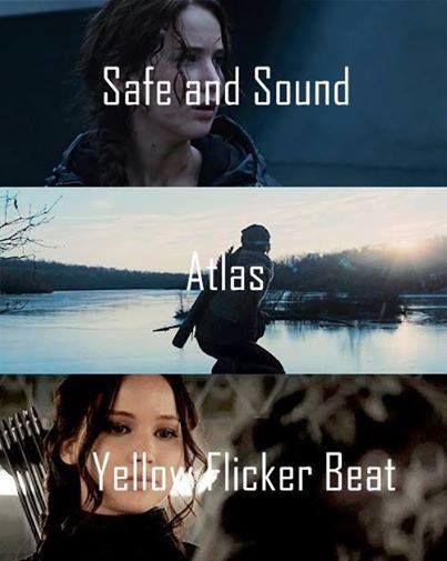The Hunger Games Igrzyska Śmierci Catching Fire W Pierścieniu Ognia Mockingjay Kosogłos Safe and sound Taylor Swift Atlas Coldplay Lorde Yellow flicker beat
