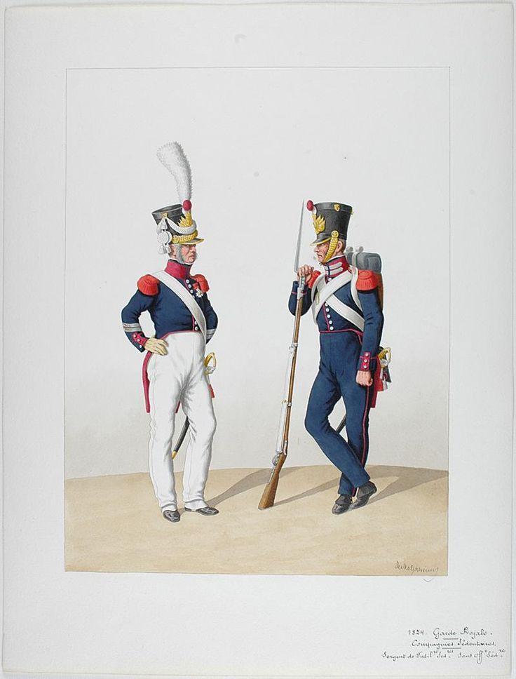 1830. Garde Royale. Compagnies Sédentaires. Sergent de Fusiliers Sédentaires, Sous-Officier Sédentaire.