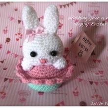 코바늘 뜨개 소품 도안 : 토끼 컵케이크 (태교취미,인테리어 소품DIY) : 네이버 블로그