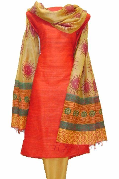 Coral Red and Cream Printed Tussar Silk #Salwar Kameez @http://www.maalpani.com/latest-arrivals.html