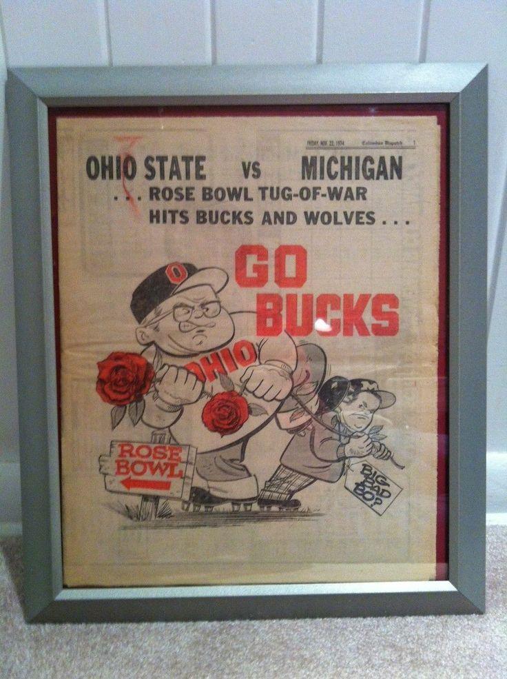 Fram 1974 Ohio State Buckeyes football Woody Hayes kicking Bo Michigan newspaper