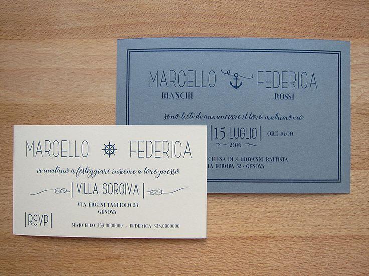 Marino Classico - partecipazione e invito a scheda a tema marino su carta grezza di cotone bicolor