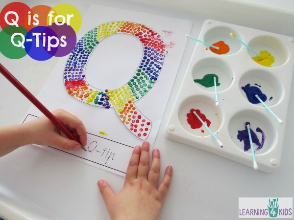q is for q tips letter q activity with free printable - Free Painting Games For Preschoolers