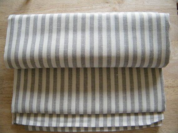 2 taies d'oreiller lin naturel - couvertures - Euro Shams - Square - écru gris rayures écru - pur lin - lin naturel - linge de lit - Lin