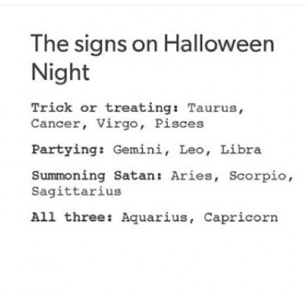 aquarius, aries, cancer, capricorn, gemini, halloween, leo, libra, night, party, pisces, sagittarius, satan, scorpio, taurus, trick or treat, virgo, zodiac signs, zodiacs