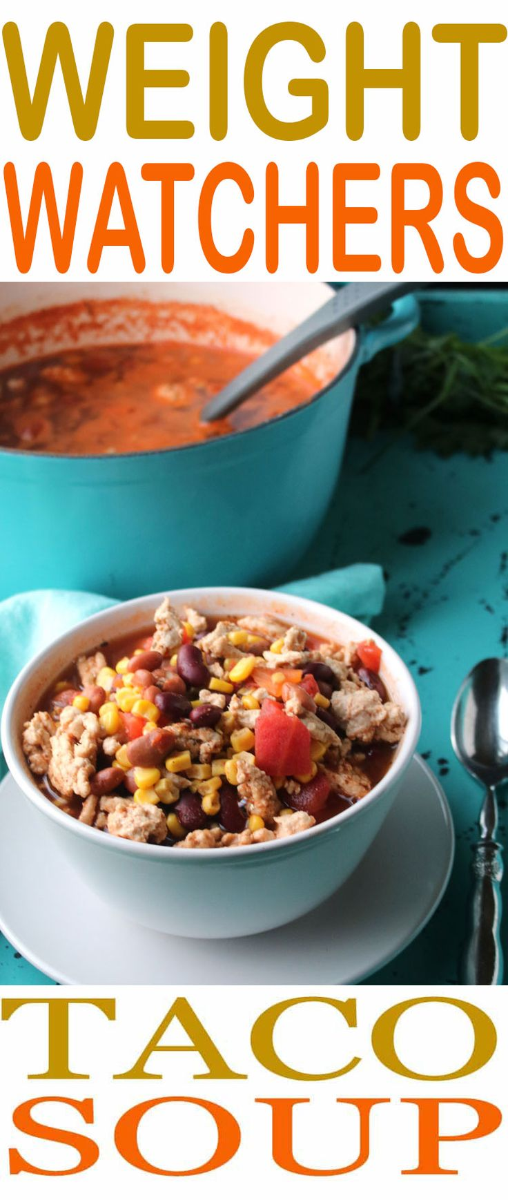 This easy Weight Watchers Taco Soup is so easy to make. Just 3 Smart Points per serving for this delicious soup recipe. Recipe makes 10 servings, so there is plenty to share. Taco Soup is one of the easiest Weight Watchers recipes to make and it is so full of flavor you won't even think about being on a diet. Enjoy a healthier way of eating and our easy Taco Soup recipe. #SmartPoints #WeightWatchers #DietFood
