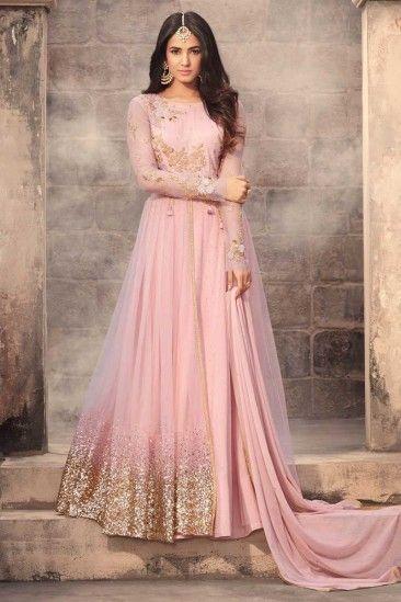 Pink Net Anarkali Suit With Dupatta - DMV15370