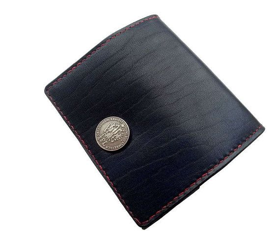 Leather wallet for coins handmade. Leather coin purse. Wallet for men. Leather purse for men. Leather blue wallet is sewn with a red French linen waxed thread. Leather wallet blue. Leather wallet black.Free worldwide shipping.