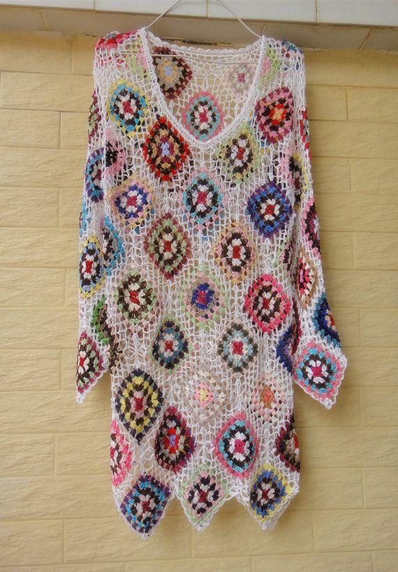 Cuadrado blanco Crochet Granny vestidos de por Tinacrochetstudio
