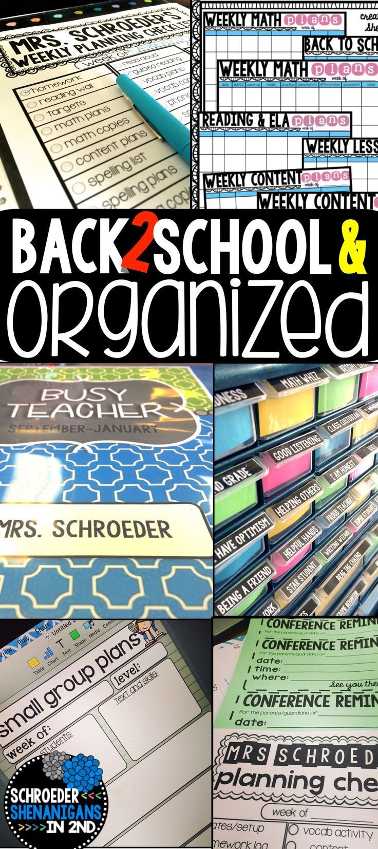 Get organized for the new school year with editable lesson plans, editable check lists, small group planning sheets, labels, and more!
