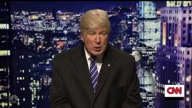 """Saturday Night Live's planned cold open for October 8—a spoof of the Tuesday debate between America's stepdads, the Vice Presidential nominees—was clearly waylaid by Pussygate, and so they preempted it with a """"CNN Breaking News"""" interview with """"Donald Trump,"""" as portrayed by a pitch-perfect and sufficiently orange Alec Baldwin."""