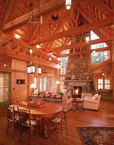 modern log cabin interior in maine dream house
