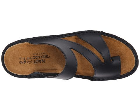 My Naot sandals are the most comfortable shoes I've ever worn. I'd like a pair in black. Not sure these are the ones, though. Toe strap?