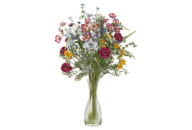 "26"" Garden Flowers in Glass Vase on OneKingsLane.com"