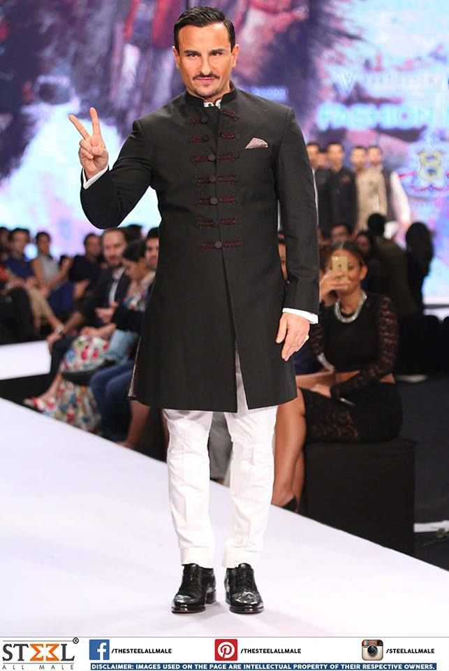 Saif looked dapper in classic bandhgala paired with white breeches !  LIKE and SHARE if you loved this look of Sail Ali Khan :)  #EthnicWear #Royal #Bandhgala #IndoWestern #Sherwanis #Collection #Ahmedabad #Menswear #Clothing #Store #FashionNights #RampWalk #Gentlemen