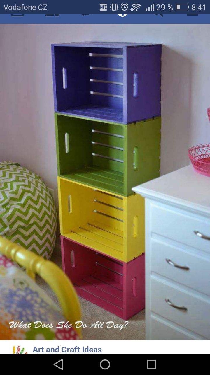 Girls room, with baskets for all their stuff.