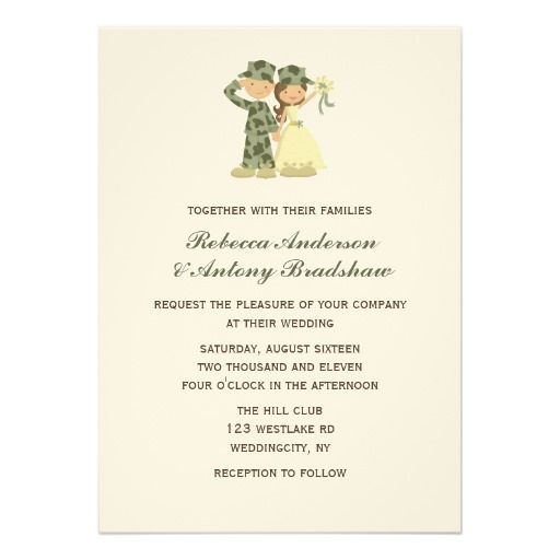 soldier and bride wedding invitations | invitations, soldiers and, Wedding invitations