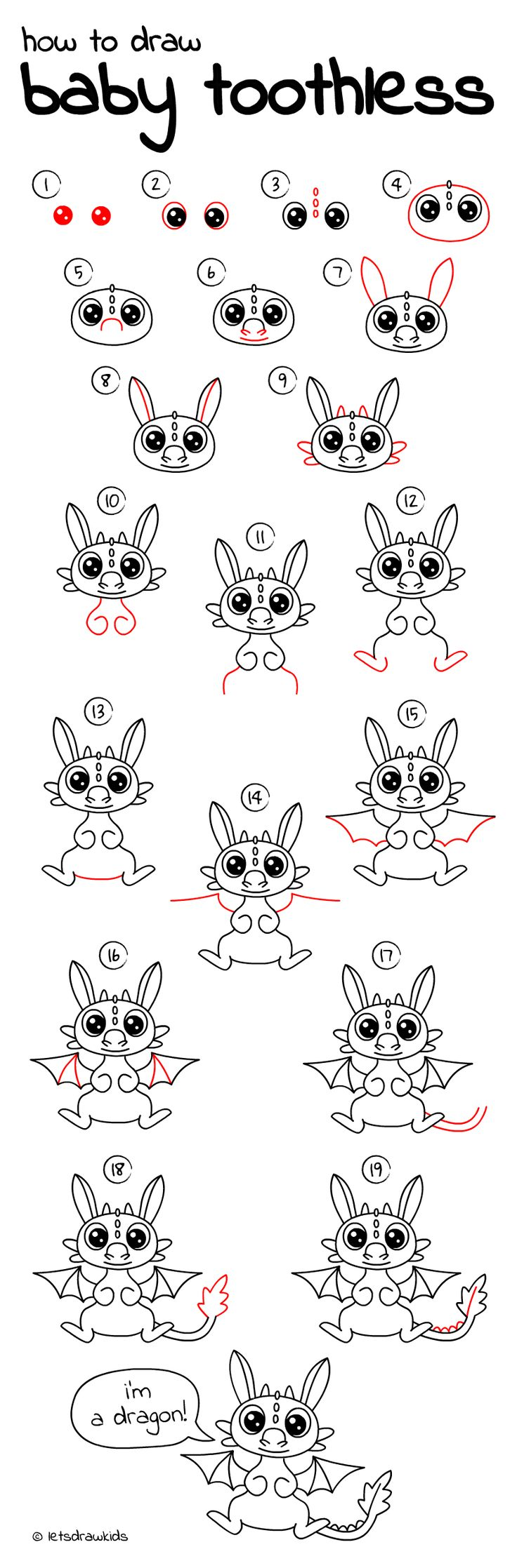 How To Draw Baby Toothless Easy Drawing, Step By Step, Perfect For Kids
