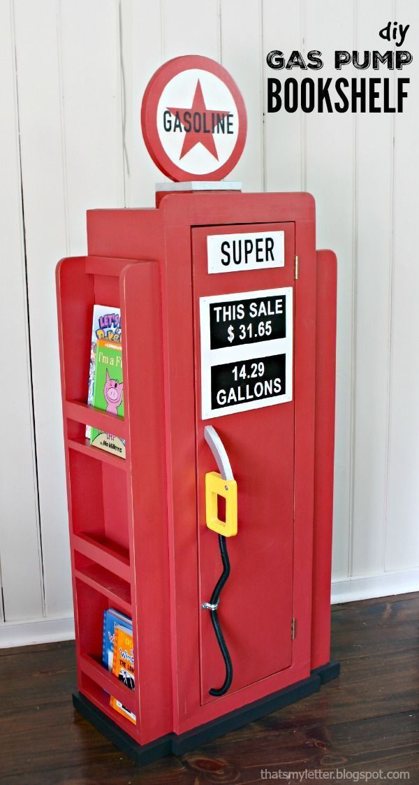 This is PERFECT for a little boy's room! Adorable DIY gas pump bookshelf by That's My Letter and Ana White