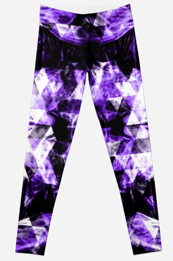 Electrifying purple sparkly triangle flames Leggings by #PLdesign #geometric