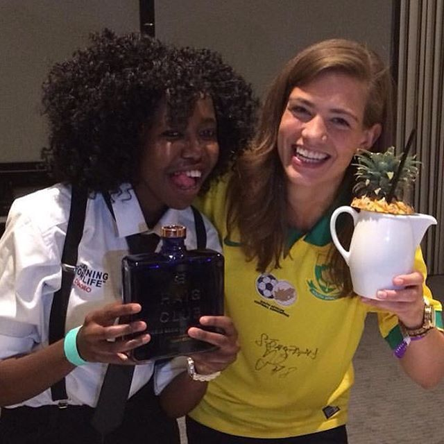 """""""Making #HaigClub #cocktails with the amazing Nthabee Mabaso of the #LearningForLife program during #worldclass2015 """""""