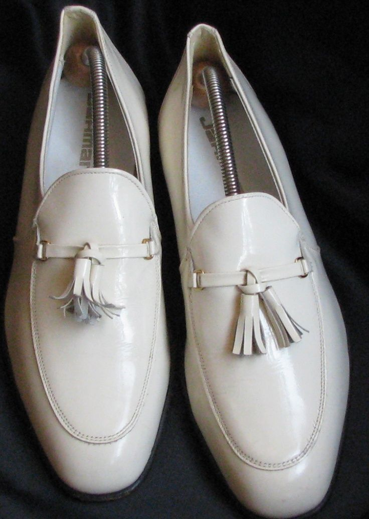 Beefy Men IN WHITE SHOES Pinterest | Men White patent Leather slip on with tassels.