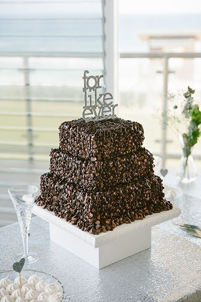 Chocolate wedding cake, 'for like ever' cake topper. Image: Cavanagh Photography http://cavanaghphotography.com.au