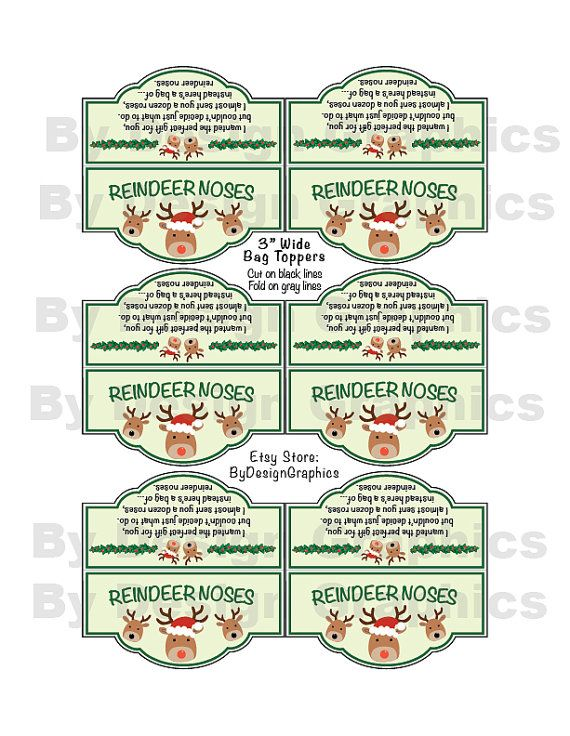 """Christmas treat bag toppers - """"Reindeer Noses"""" with poem. INSTANT DIGITAL FILE. Great party favor, school kids treat or a gift from the elf...."""