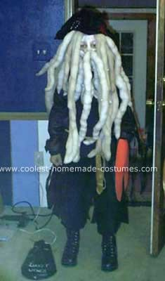 Homemade Davy Jones Costume: I made this Homemade Davy Jones Costume for my grandson, who was 12.  It was Davey Jones, from the Pirates of the Caribbean.  We used an old pirate costume